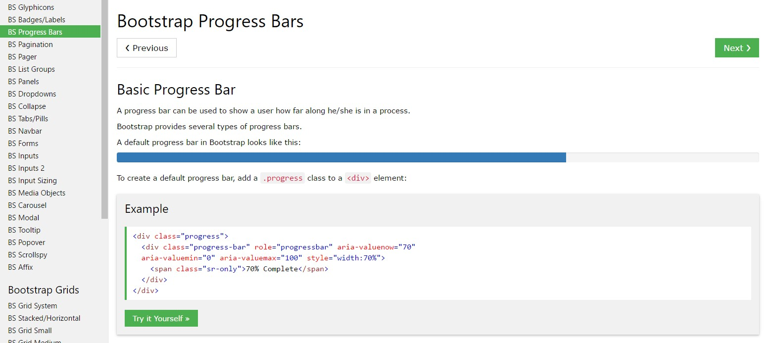 Bootstrap progress bar  short training