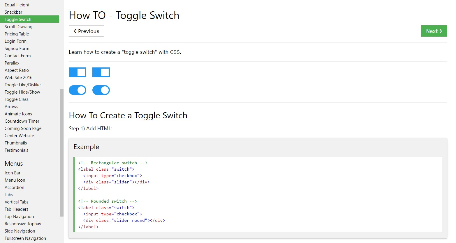 How to  set up Toggle Switch