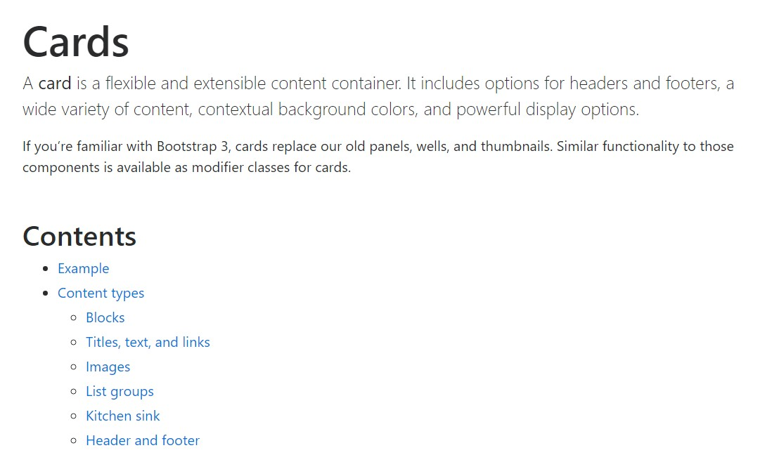 Bootstrap Panel-Cards:  main documentation
